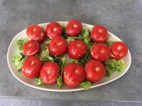 Tomates farcies thon , œufs durs , mayonnaise longue conservation