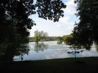 Château de Digoine. L'étang au fond du parc à l'anglaise