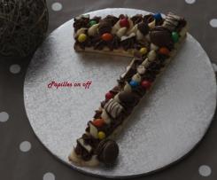 Number cake chocolat blanc, praliné et kinder