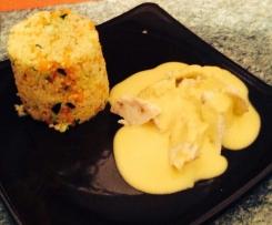 Filets de poulet au cumin avec sa semoule de petits légumes et crème de carottes