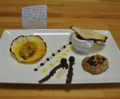 Rocher noix de coco coeur coulant chocolat noir, Sucettes chocolat noir et blanc à la cerise, Quenelle chocolat noir sur sa tuile nappée de coulis d'orange et citron, Soupe au chocolat blanc et cerise griotte.