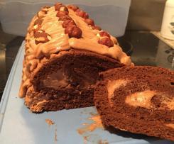 Bûche au chocolat pralinée express