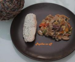 Poulet au boursin, pâtes et champignons