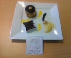 Vulcano dolce et son coulis d'orange accompagné de sa crème brûlée chocolat-orange-canelle