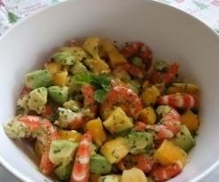 Salade de crevettes , mangue et avocats