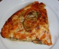 Quiche sans pâte aux aubergines, carottes et saumon
