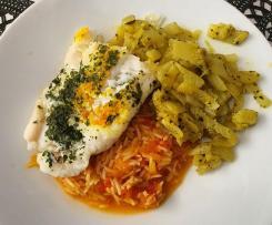 Dos de Cabillaud, julienne de Fenouil et riz à la tomate