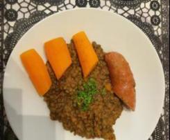 Lentilles vertes aux saucisses de Montbéliard et carottes vapeur