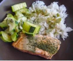 Pavés de saumon à la crème et ses courgettes