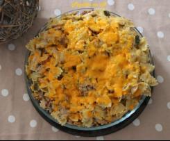 Gratin de pâtes au poulet, poireaux et mimolette