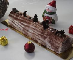 Bûche façon tiramisu (mousse mascarpone, biscuit cuillère et crémeux chocolat café)