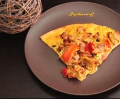 Pizza poulet, poivrons et pâte de curry