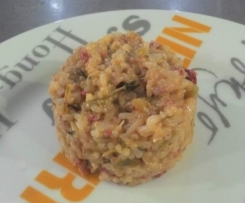 Risotto poireaux, lardons et chorizo