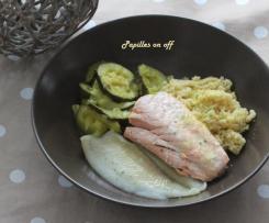 Tajine de limande et saumon aux courgettes