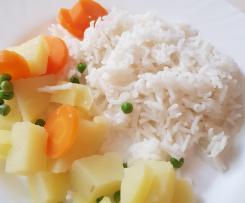 Riz nature accompagné de légumes vapeur