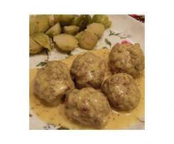 Boulettes de viande sauce curry aux choux de Bruxelles