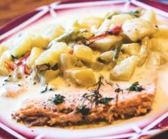 Saumon aux légumes vapeur sauce Hollandaise