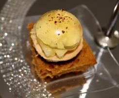 Foie gras, monbazillac et poires sur son pain d'épices