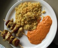 semoule en carotte courgette et poulet curry et chorizo