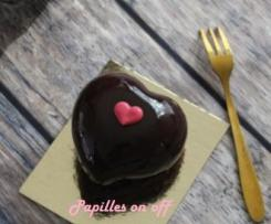 Entremets individuels chocolat framboise