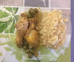 Poulet au citron - olive et semoule
