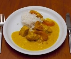Filet de poulet sauce curry pêche