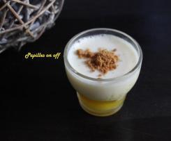 Verrines de compote de mangue au citron vert, crème de chocolat blanc et spéculoos