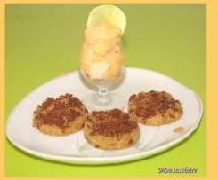 sablés jambon/roquefort et sorbet melon/citron vert