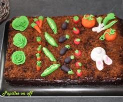 Gâteau potager (gâteau chocolat, ganache chocolat et bananes)