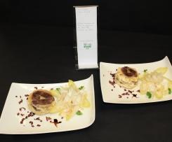 Gâteau de pommes de terre au canard et au maroilles, endives en salade