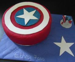 Gâteau d'anniversaire capitaine américa, gateau au chocolat moelleux