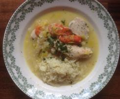 Waterzoï de poulet, légumes vapeur à la belge