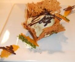 Dentelles chocolat orange et crémeux de chocolat blanc