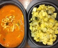 Lamelle d'encornets à la tomate et ses petits légumes