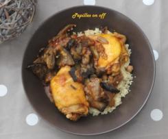 Couscous au poulet et aubergines grillées