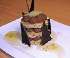 Tourelles aux noisettes, pistaches, chantilly de chocolat noir et compotée de poires au miel et gingembre