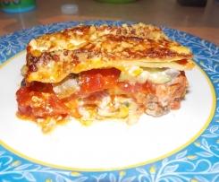 lasagnes italiennes au serano, courgettes, poivrons, champignons et parmesan