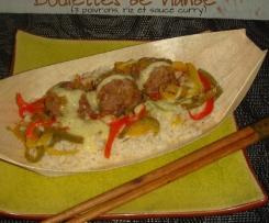 Boulettes de viande aux trois poivrons et sauce curry