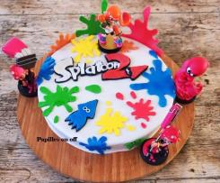 Gâteau Splatoon 2 , en pâte à sucre, pour allergique à l'oeuf