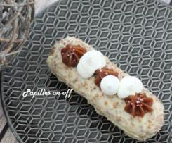 Entremets / Finger aux noisettes, caramel et ganache montée à la vanille