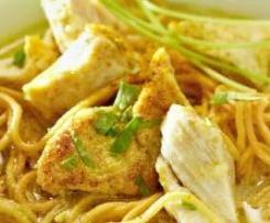 Nouilles chinoises au poulet et lait de coco