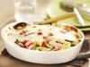 Gratin de pâtes aux lardons de bacon, haricots verts et tomate