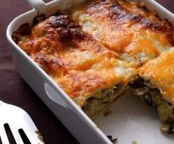 Lasagne au poisson blanc, béchamel et champignons