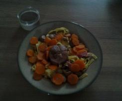 Paupiette de veaux aux carottes et champignon et ses tagliatelles