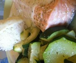 riz basmati, courgettes a la menthe et son pavé de saumon citroné