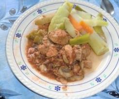 rouelle de porc façon Marengo et ses légumes vapeur
