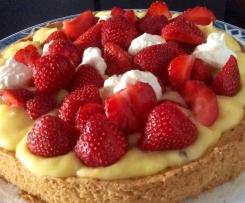 Tarte aux fraises, citron et basilic