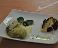 Ballottine de cabillaud et ses légumes du terroir accompagné de son sabaillon de poires