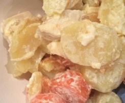 grattin pommes de terre, carottes, poulet