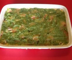 Lasagnes aux deux saumons en croute de pistou